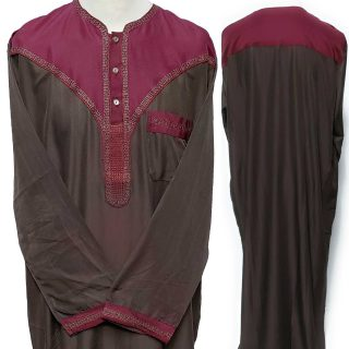 Moroccan Long Sleeve Maroon/Brown Thobe No Trousers