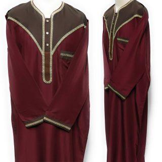 Moroccan Long Sleeve Maroon & Beige Thobe