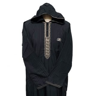 Moroccan Hooded Long Sleeve Black/Gold Thobe