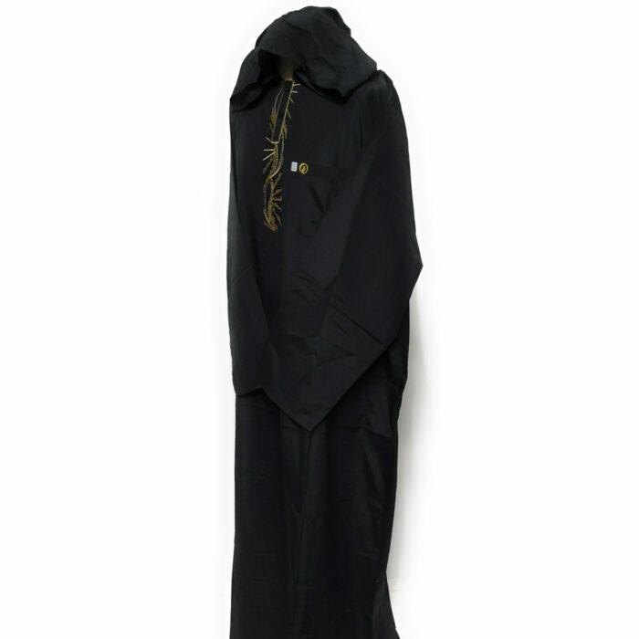 Moroccan Hooded Long Sleeve Black/Gold Thobe