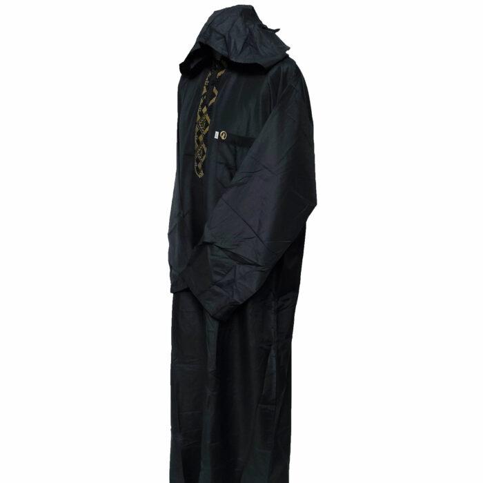 Moroccan Hooded Black/Gold Long Sleeve Thobe