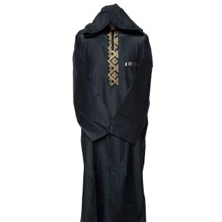 Moroccan Hooded Black/Gold Long Sleeve Thobe