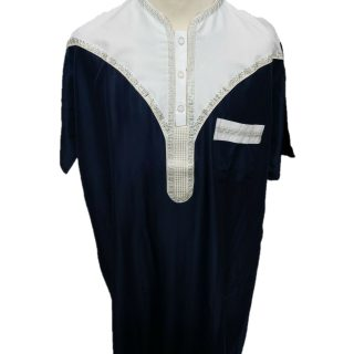 Moroccan Short Sleeve Navy & Off-White Thobe