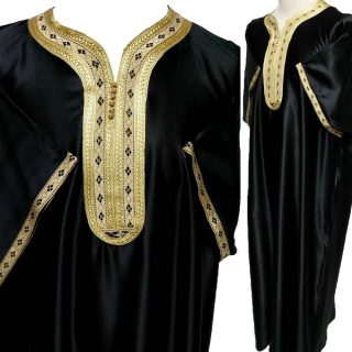 Moroccan Short Sleeve Cotton Black & Gold Thobe