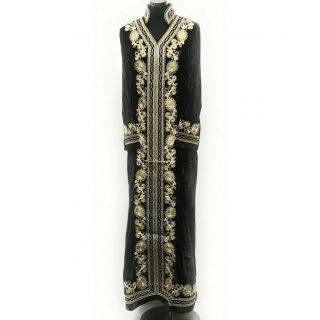 Moroccan Brown Thick Velvet Long Maxi Dress Abaya Robe Luxury Kaftan Jilbab