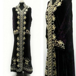 Moroccan Dark Purple Thick Velvet Long Maxi Dress Embroidered Abaya Robe Luxury Kaftan Jilbab