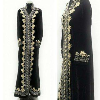 Moroccan Dark Purple Thick Velvet Long Maxi Dress Abaya Robe Luxury Kaftan Jilbab