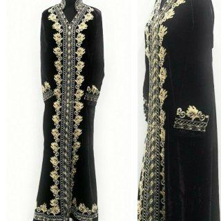 Moroccan Thick Dark Purple Velvet Long Maxi Dress Abaya Robe Luxury Kaftan Jilbab