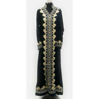 Moroccan Teal Blue Thick Velvet Long Maxi Dress Abaya Robe Luxury Kaftan Jilbab