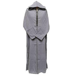 Men Moroccan Winter Wool Hooded Thobe Djelleba Jubba Light Grey Lgrya001