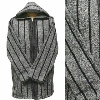 Men's Moroccan Hooded Wool Winter Baja Jerga Jacket Grey/Black Striped