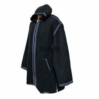 Men's Moroccan Hooded Wool Winter Baja Jerga Jacket Navy. Brand new, with original plastic wrap included. We are known to many for our extensive Moroccan clothing collection. Extremely high quality with a lovely premium feel. Made in Morocco. Exclusive new design Moroccan jacket.