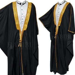 Men's PREMIUM Long-Sleeve Arabian Bisht Cloak Arab Dress Thobe Islam Robe Eid Jacket Wedding