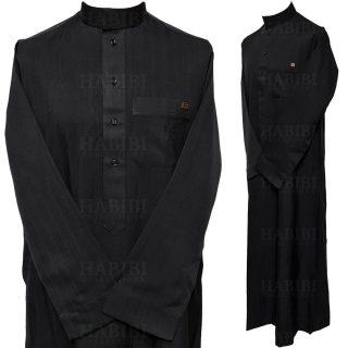Nusuki 003 90210145420mix Nusuki Men Thick Black Thobe Long Sleeve Jubba0509 222122