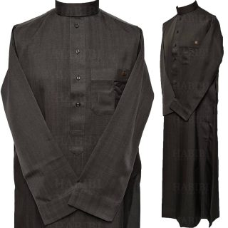 Nusuki 005 90210145420mix Nusuki Men Thick Black Charcoal Thobe Long Sleeve Jubba0509 222530
