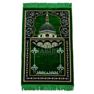 Green Islamic Masjid Al Nabawi Soft Prayer Mat