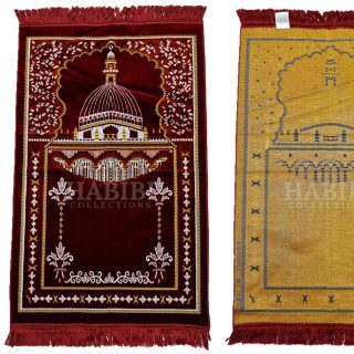 Maroon Islamic Masjid Al Nabawi Soft Prayer Mat