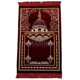 Maroon Islamic Masjid Al Nabawi Soft Prayer Mat