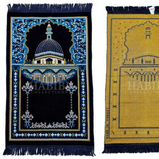 Navy Blue Islamic Masjid Al Nabawi Soft Prayer Mat