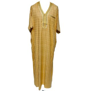 OT-CHQSLV-YEL-Men's Moroccan Short Sleeves Yellow Checkered Thobe Jubba Kandora