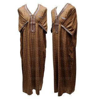 Othchq 025 Brown Men Moroccan Short Sleeves Thobe 05 03t060117.667