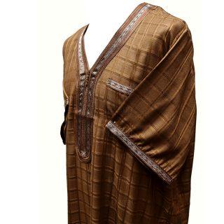 Othchq 025 Brown Men Moroccan Short Sleeves Thobe0502 235355