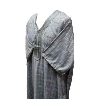 Othchq 026 D Grey Men Moroccan Short Sleeves Thobe0503 000252