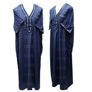 Othchq 027 Men's Moroccan Short Sleeves Blue Checkered Thobe Jubba Kandora 05 31t195809.470