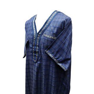 Othchq 027 Men's Moroccan Short Sleeves Blue Checkered Thobe Jubba Kandora0503 000622