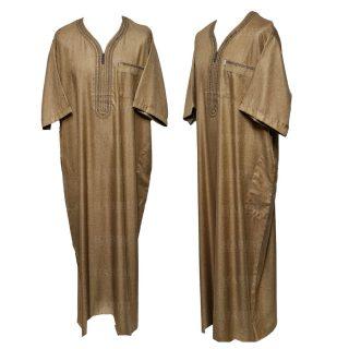 Othslv 003 Light Brown Men Moroccan Short Sleeves Thobe 04 30t062143.927