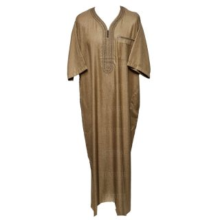Othslv 003 Light Brown Men Moroccan Short Sleeves Thobe0430 045751