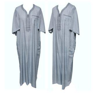 Othslv 005 Grey B Men Moroccan Short Sleeves Thobe 05 01t052951.393