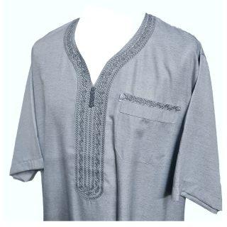 Othslv 005 Grey B Men Moroccan Short Sleeves Thobe0430 050122