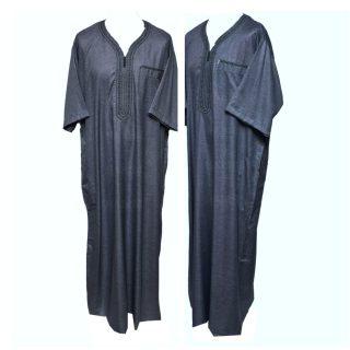 Othslv 006 Dark Grey Men Moroccan Short Sleeves Thobe 05 01t054628.132