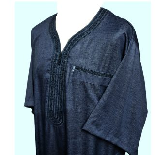 Othslv 006 Dark Grey Men Moroccan Short Sleeves Thobe 05 01t054936.254