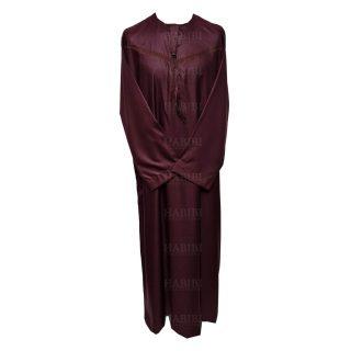 Omani Maroon004 Men Omani Long Sleeves Thobes0418 223610