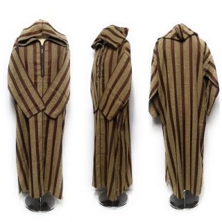 Moroccan Long Sleeve Hooded Thobe Striped Rusty Gold