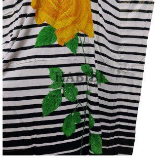Women's Green/Yellow Sequin Kaftan Rose Striped Pattern