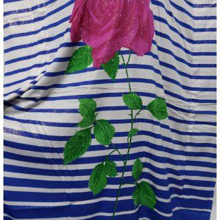 Women's Blue/Pink Sequin Kaftan Rose Striped Pattern