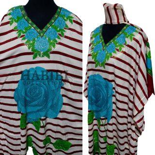 Women's Blue/Green Sequin Kaftan Rose Geometric Striped Pattern