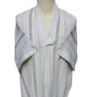 Moroccan Short Sleeve V-Neck Beige Thobe