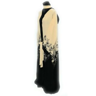 Women's Cream/Black Open Front Floral Long Abaya