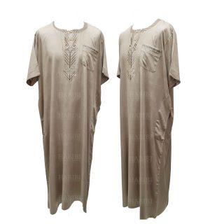 Ymkdes 001 Beige Cotton Thobe Jubba Men's Dishdash 05 08t052724.021
