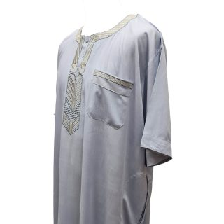 Ymkdes 002 Light Grey Cotton Thobe Jubba Men's Dishdash 0502 194416
