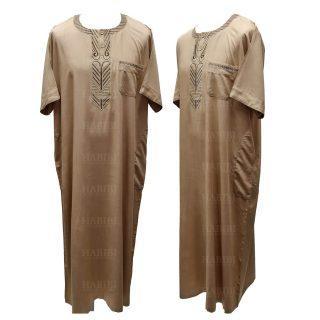 Ymkdes 003 Dark Beige Cotton Thobe Jubba Men's Dishdash 05 08t061954.960