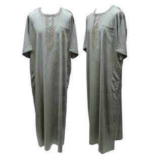Ymkdes 004 Light Green Grey Cotton Thobe Jubba Men's Dishdash 05 08t064407.445