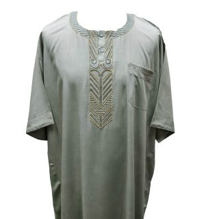 Ymkdes 004 Light Green Grey Cotton Thobe Jubba Men's Dishdash 0502 200816