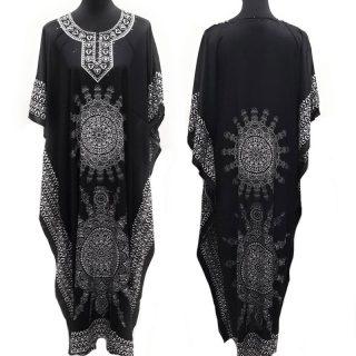 black-white-mandala kaftan HabibiCollections