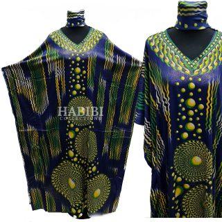 Women's Blue/Yellow Sequin Kaftan Free Size Geometric Swirl Pattern