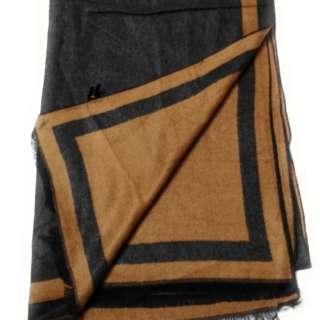 Black & Light Brown 2-Tone 100% Cashmere Scarf Unisex
